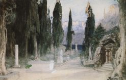 Cemetery and Cypress Trees | Vasily Polenov | Oil Painting