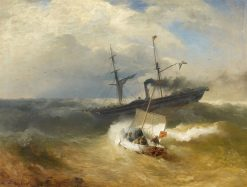 Steam Ship and Sailing Boat in Rough Seas | Andreas Achenbach | Oil Painting