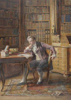 A Gentleman Reading in the Library | Johann Hamza | Oil Painting