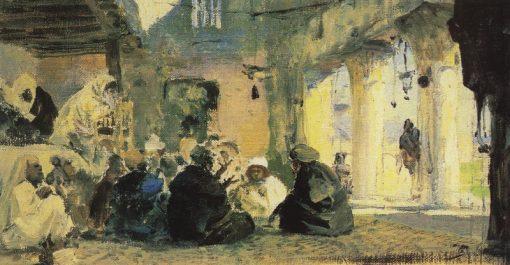 Among the Teachers (study)   Vasily Polenov   Oil Painting