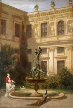 Courtyard with the Grotto in the Munich Royal Residence | Hans von Marees | Oil Painting