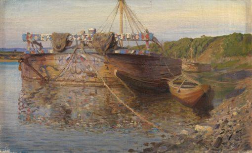 Barge on the River Oka   Vasily Polenov   Oil Painting
