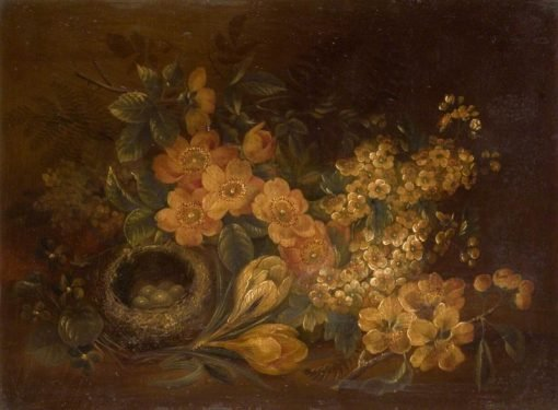 Still Life of Flowers and Birds Nest | Edwin Steele | Oil Painting