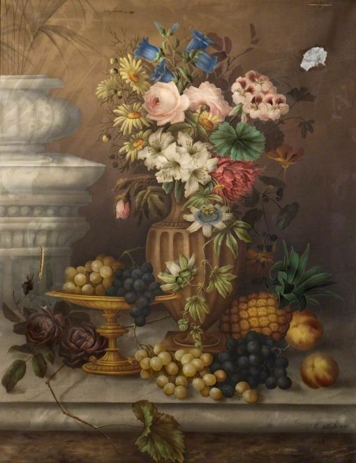 Still Life of Flowers and Fruit   Edwin Steele   Oil Painting