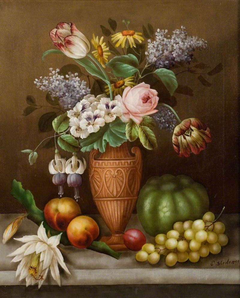 Reproductie Design Stoelen.Still Life Of Flowers And Fruit Painting Edwin Steele Oil Paintings