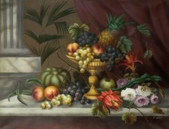 Still Life of Flowers and Fruit | Edwin Steele | Oil Painting