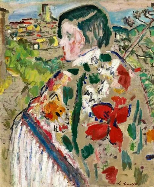 Girl in a Shawl; St Paul de Vence Beyond | St Paul de Vence Beyond | Oil Painting
