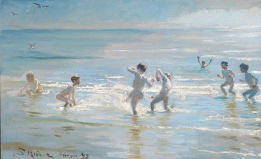 Boys Bathing on a Summer Evening at Skagen Beach | Peder Severin Kroyer | Oil Painting
