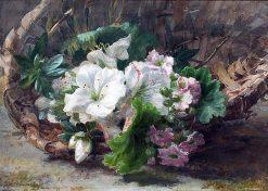 Flowers in a Basket | Geraldine Jacoba van de Sande Bakhuyzen | Oil Painting