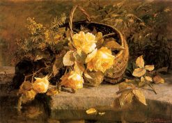 Still life of flowers in a basket by waters edge | Geraldine Jacoba van de Sande Bakhuyzen | Oil Painting