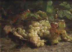 White grapes in a wicker basket | Geraldine Jacoba van de Sande Bakhuyzen | Oil Painting