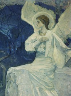 Angel Seated on a Coffin | Mikhail Vasilevich Nesterov | Oil Painting