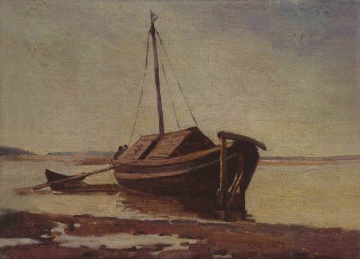 Boat on the Volga | Mikhail Vasilevich Nesterov | Oil Painting