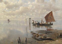 Fishing in the Lagoon | Franz Leo Ruben | Oil Painting
