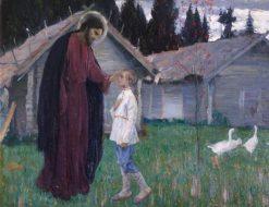 Christ Blessing in Child | Mikhail Vasilevich Nesterov | Oil Painting