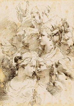 Studies of heads of women with elaborate hair styles | Gaetano Gandolfi | Oil Painting