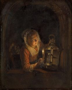 Girl at the window with lantern | Gerrit Dou | Oil Painting