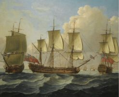 An East Indiaman in Three Positions | John Cleveley the Elder | Oil Painting