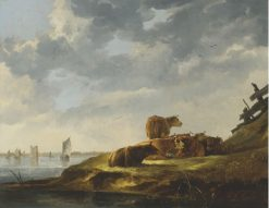 A River Landscape with Seve Cows | Aelbert Cuyp | Oil Painting