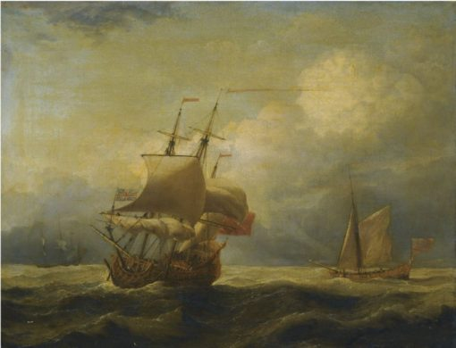 An English Ship Close-Hauled in A Strong Breeze | Willem van de Velde the Younger | Oil Painting