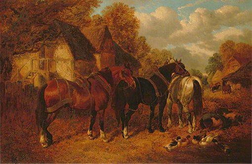 Farm Scene with Cart Horses   John Frederick Herring