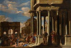 Architectural Capriccio with a Bacchanalian Procession | Filippo Gagliardi | Oil Painting