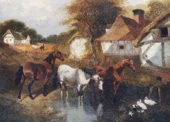 Horses in a Corner of a Farm | John Frederick Herring
