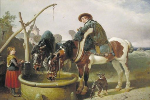 Horses at a Well and Henry Bright   John Frederick Herring