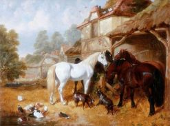 Horses in a Farmyard | John Frederick Herring