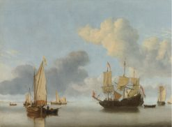 A Dutch ship at anchor drying sails and a Kaag under sail | Willem van de Velde the Younger | Oil Painting