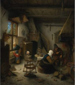 Peasant Family in a Cottage after a Meal | Adriaen van Ostade | Oil Painting