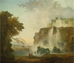 Landscape with Painters near a Waterfall | Hubert Robert | Oil Painting