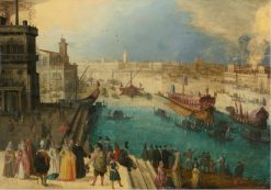 A capriccio view of Venice with the Bucintoro | Louis de Caullery | Oil Painting
