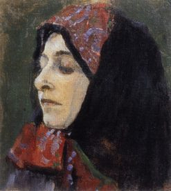 Head of a Woman Wearing a Headscarf | Mikhail Vasilevich Nesterov | Oil Painting