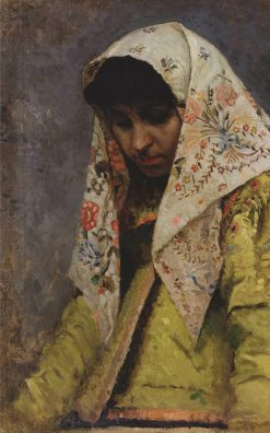 Young Woman Wearing a Headscarf | Mikhail Vasilevich Nesterov | Oil Painting