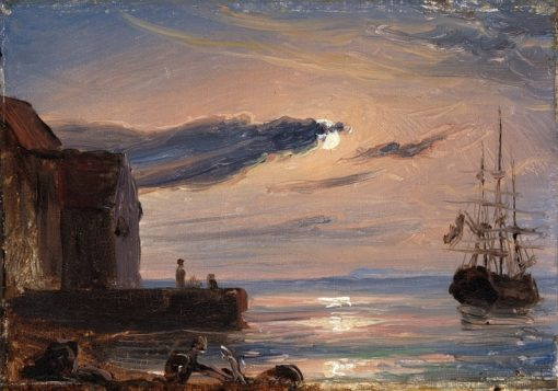Mediterranean harbour by moonlight | Thomas Fearnley | Oil Painting