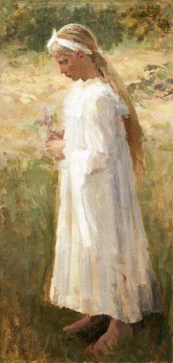 Girl in White Holding a Flower   Mikhail Vasilevich Nesterov   Oil Painting
