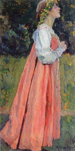 Girl in Pink   Mikhail Vasilevich Nesterov   Oil Painting