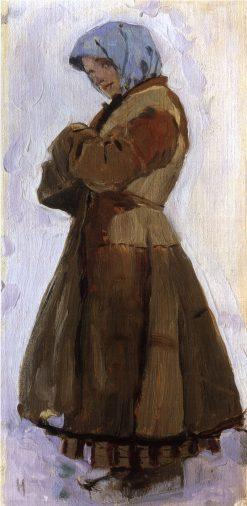 Girl in a Coat | Mikhail Vasilevich Nesterov | Oil Painting