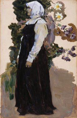 Girl in Black Dress | Mikhail Vasilevich Nesterov | Oil Painting
