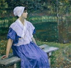 Girl by the Pond   Mikhail Vasilevich Nesterov   Oil Painting