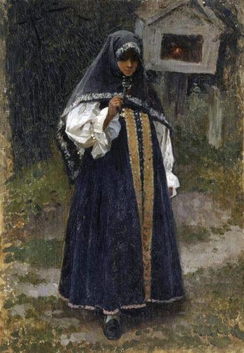 Girl from Nizhny Novgorod   Mikhail Vasilevich Nesterov   Oil Painting