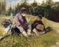 Grandpa and Grandson   Mikhail Vasilevich Nesterov   Oil Painting