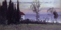 House with Cypress Trees. Sochi | Mikhail Vasilevich Nesterov | Oil Painting