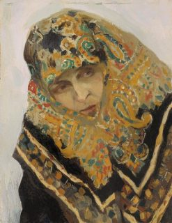 Woman Wearing a Headscarf | Mikhail Vasilevich Nesterov | Oil Painting