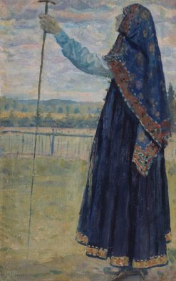 Woman with a Staff | Mikhail Vasilevich Nesterov | Oil Painting