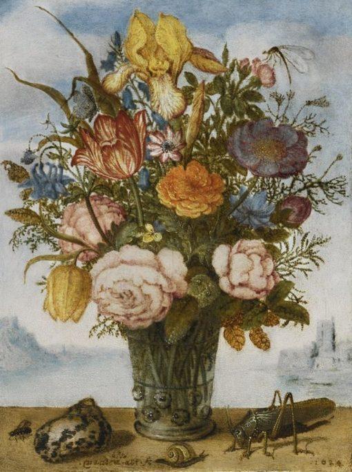 Flower Bouquet on a Ledge | Balthasar van der Ast | Oil Painting