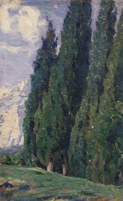 Cypress Trees | Mikhail Vasilevich Nesterov | Oil Painting
