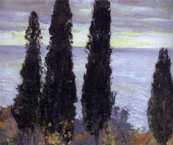 Cypress Trees by the Sea | Mikhail Vasilevich Nesterov | Oil Painting