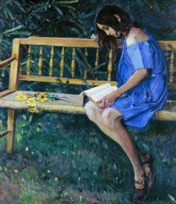 Natasha Nestrova on a Garden Bench | Mikhail Vasilevich Nesterov | Oil Painting